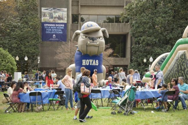 View of community day and the inflatable Jack the Bulldog