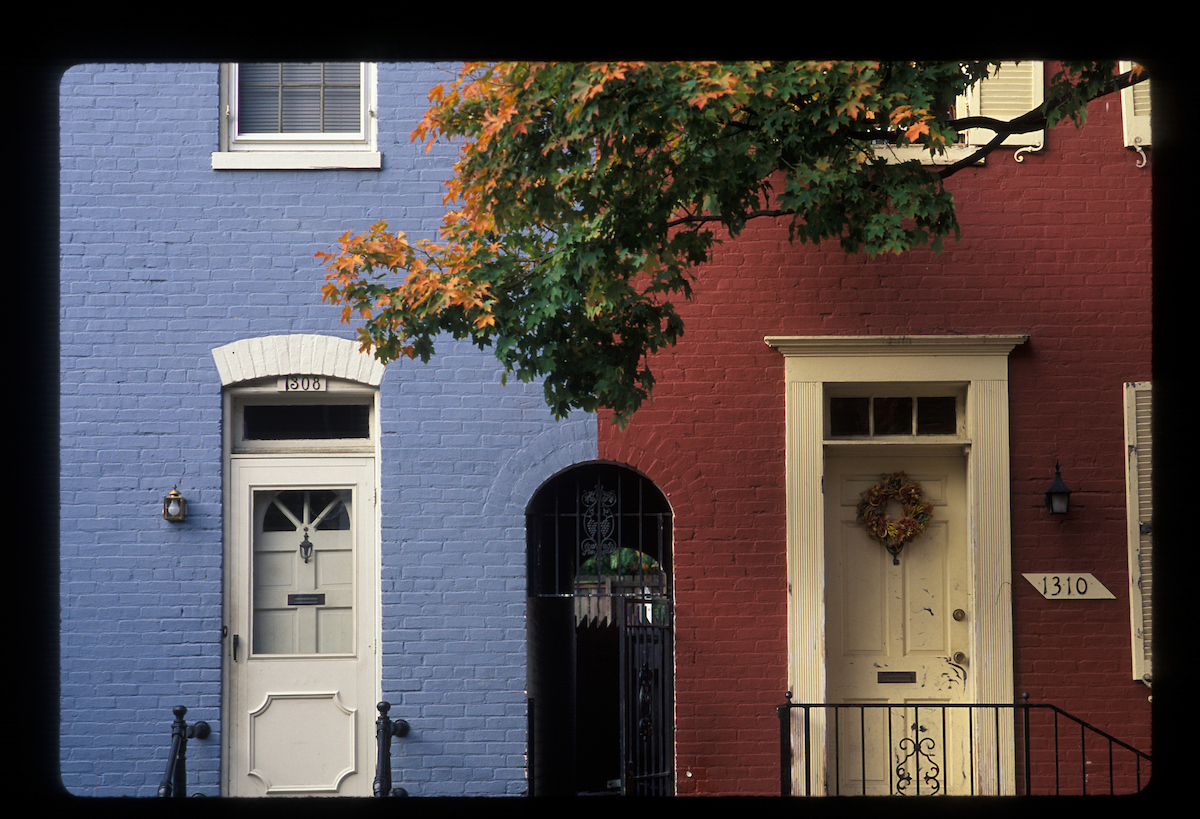 Two front doors of Georgetown row houses