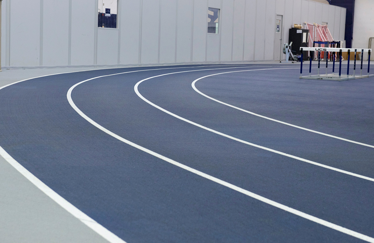 The indoor track at Yates Field House on campus